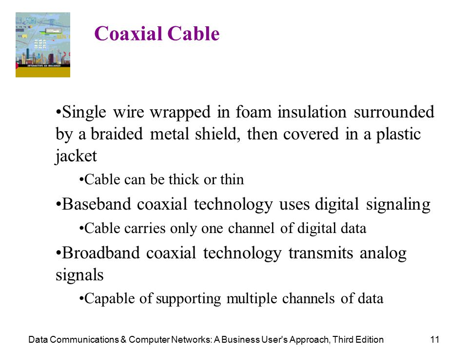 Data Communications & Computer Networks: A Business User s Approach, Third Edition11 Coaxial Cable Single wire wrapped in foam insulation surrounded by a braided metal shield, then covered in a plastic jacket Cable can be thick or thin Baseband coaxial technology uses digital signaling Cable carries only one channel of digital data Broadband coaxial technology transmits analog signals Capable of supporting multiple channels of data