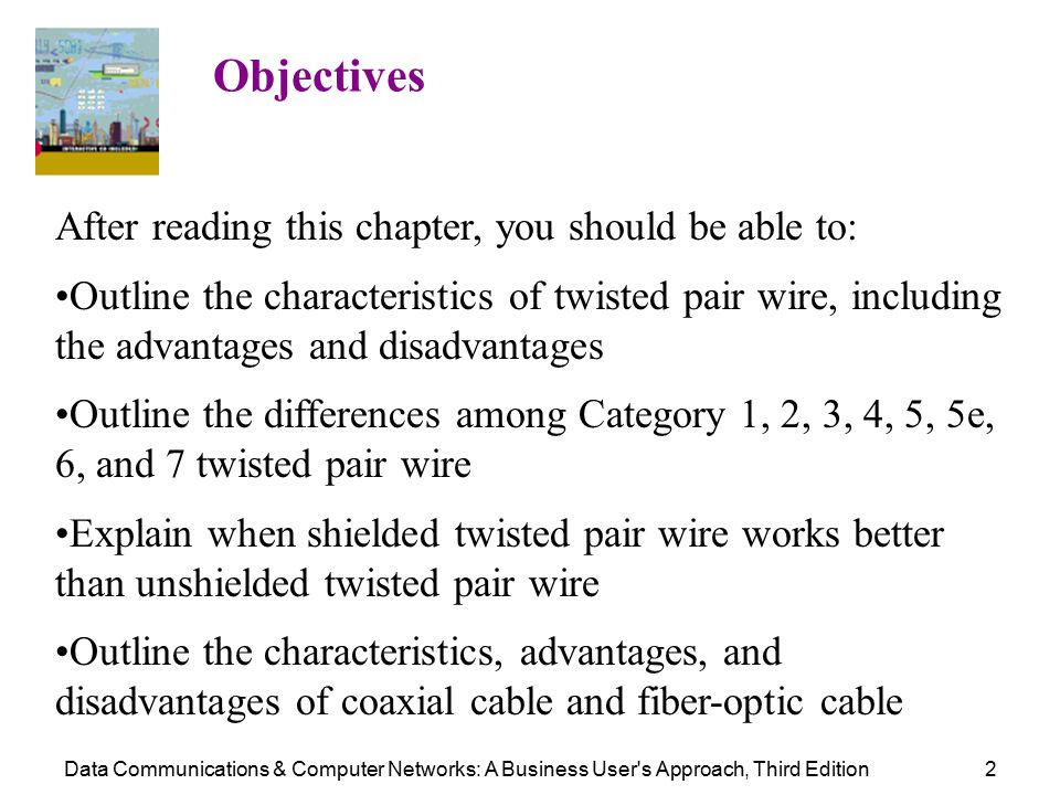 Data Communications & Computer Networks: A Business User s Approach, Third Edition2 Objectives After reading this chapter, you should be able to: Outline the characteristics of twisted pair wire, including the advantages and disadvantages Outline the differences among Category 1, 2, 3, 4, 5, 5e, 6, and 7 twisted pair wire Explain when shielded twisted pair wire works better than unshielded twisted pair wire Outline the characteristics, advantages, and disadvantages of coaxial cable and fiber-optic cable