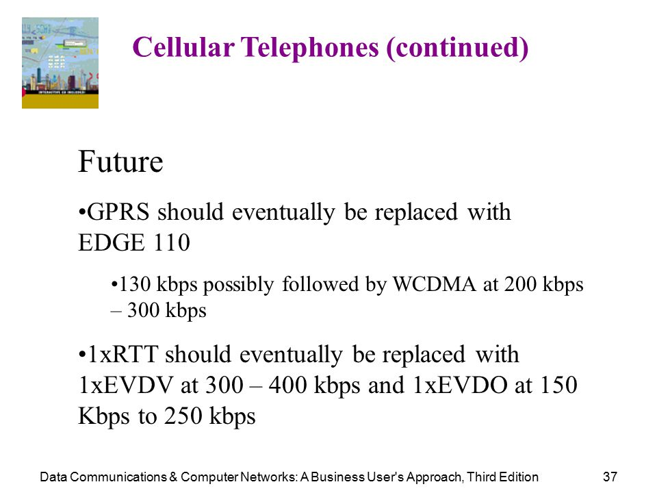 Data Communications & Computer Networks: A Business User s Approach, Third Edition37 Cellular Telephones (continued) Future GPRS should eventually be replaced with EDGE 110 130 kbps possibly followed by WCDMA at 200 kbps – 300 kbps 1xRTT should eventually be replaced with 1xEVDV at 300 – 400 kbps and 1xEVDO at 150 Kbps to 250 kbps