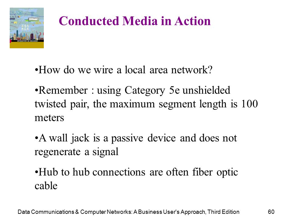 Data Communications & Computer Networks: A Business User s Approach, Third Edition60 Conducted Media in Action How do we wire a local area network.