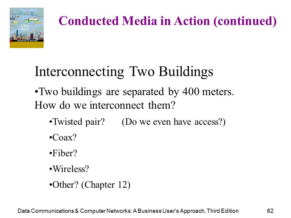 Data Communications & Computer Networks: A Business User s Approach, Third Edition62 Conducted Media in Action (continued) Interconnecting Two Buildings Two buildings are separated by 400 meters.