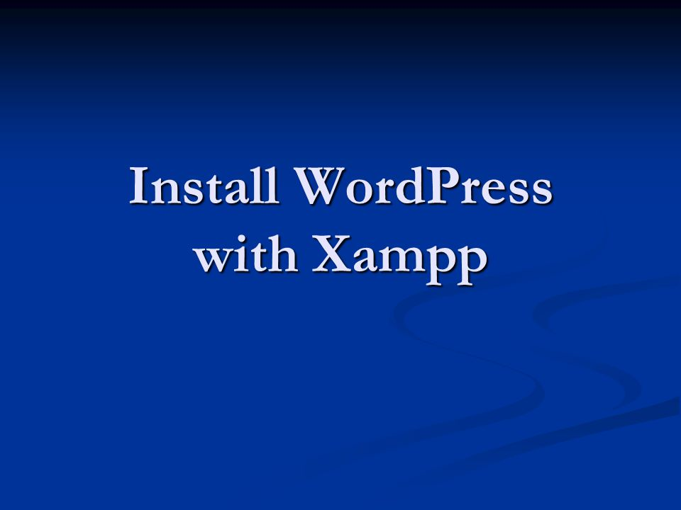 Install WordPress with Xampp