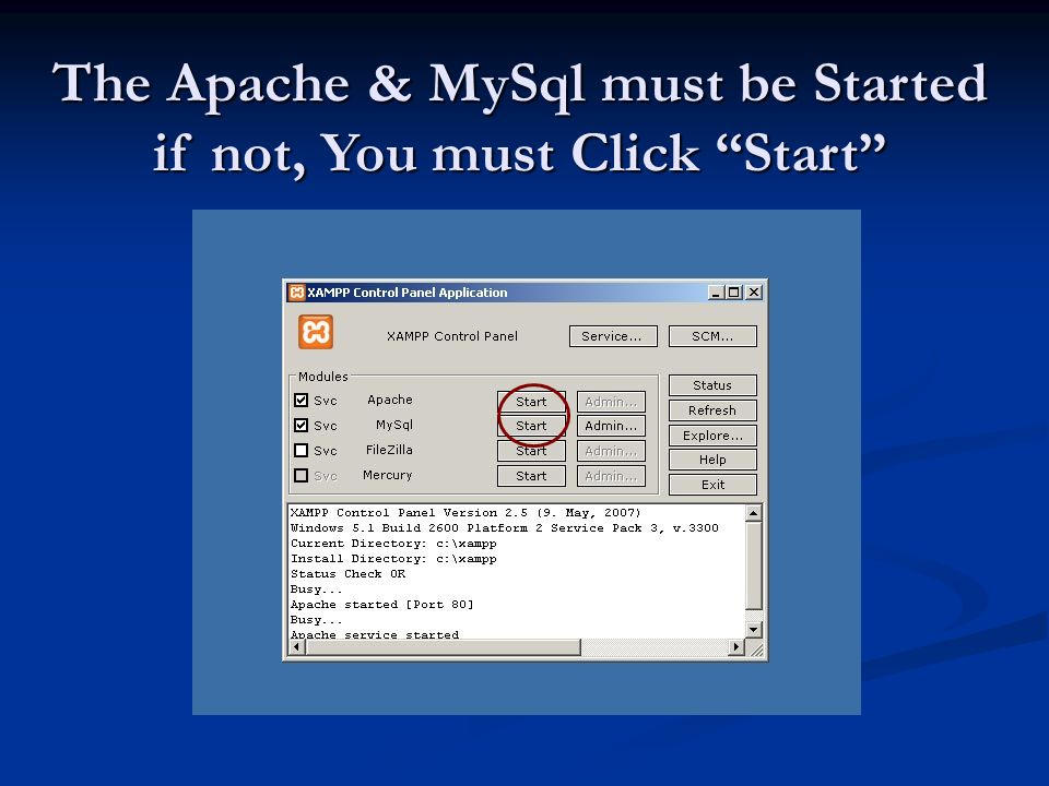 The Apache & MySql must be Started if not, You must Click Start