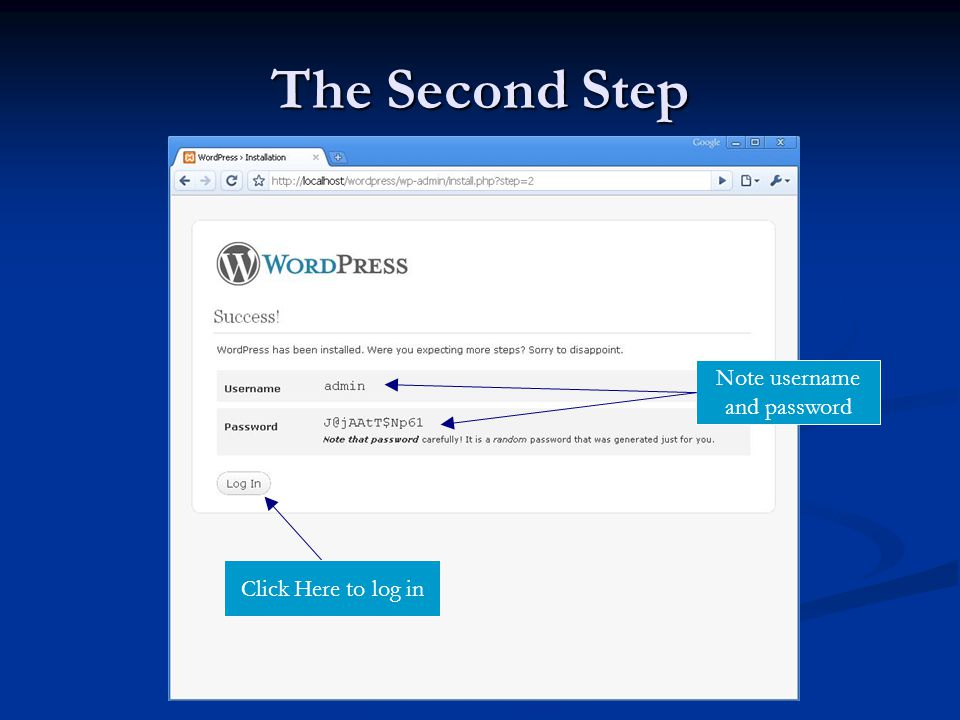 The Second Step Note username and password Click Here to log in