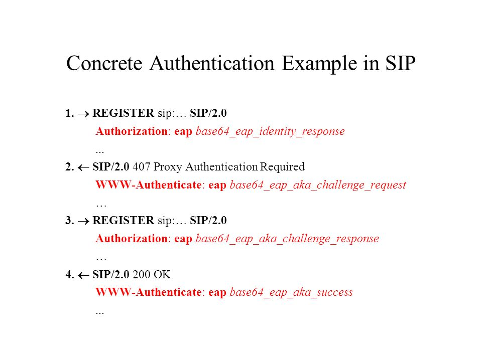 Concrete Authentication Example in SIP 1.