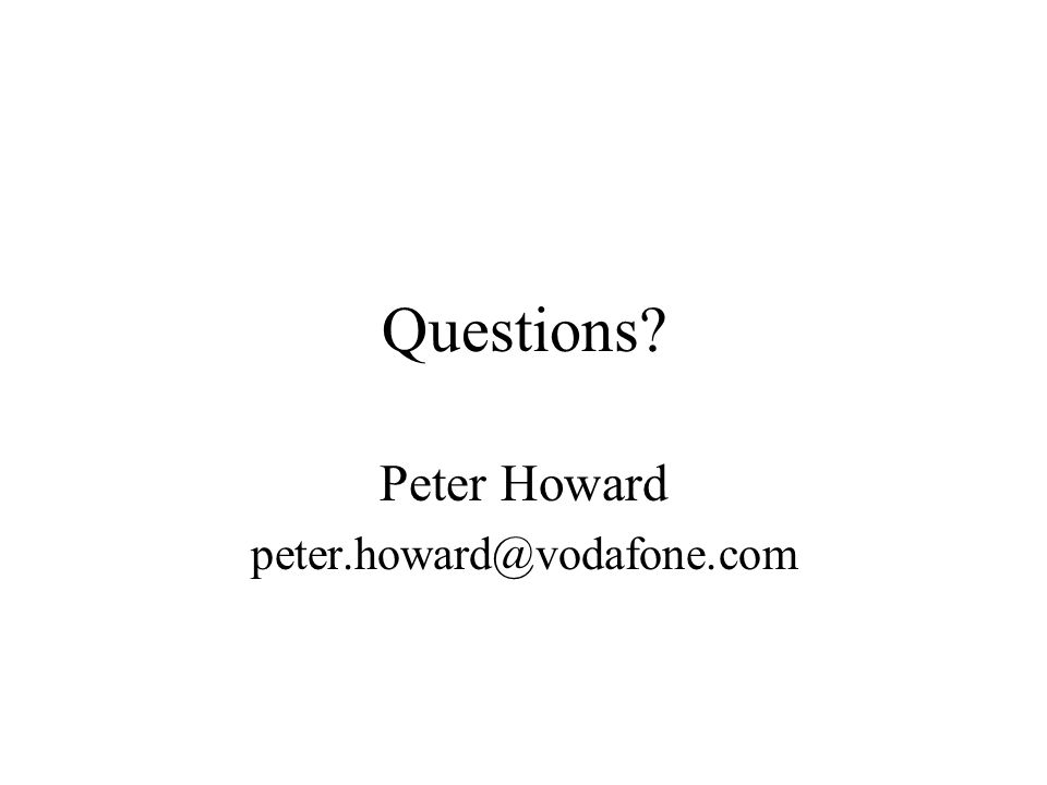 Questions Peter Howard