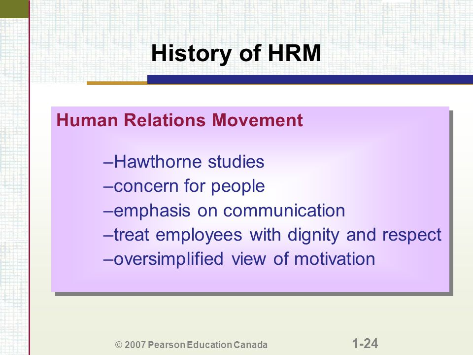 history to hrm