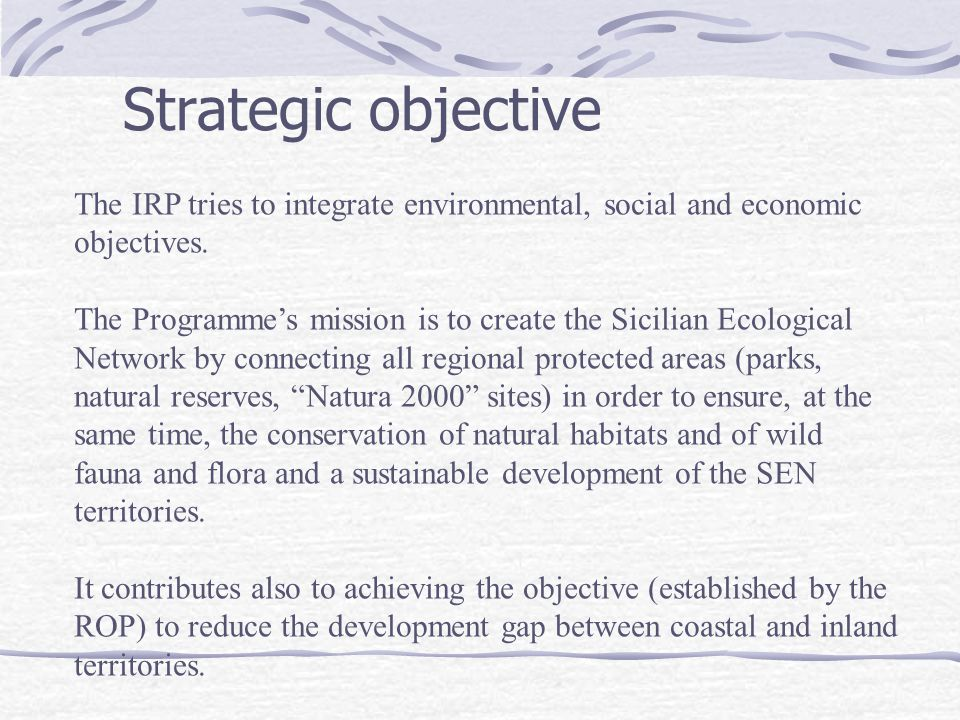 Strategic objective The IRP tries to integrate environmental, social and economic objectives.