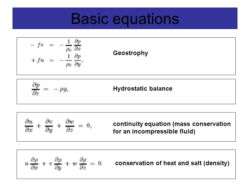 Basic equations Geostrophy Hydrostatic balance continuity equation (mass conservation for an incompressible fluid) conservation of heat and salt (density)