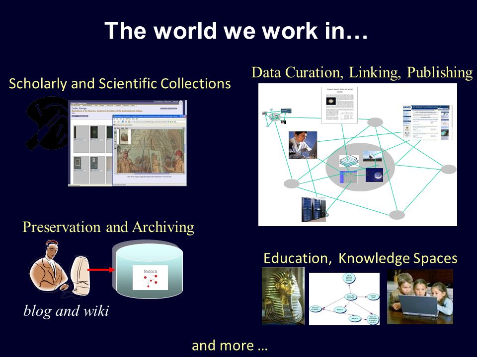 Scholarly and Scientific Collections Preservation and Archiving Education, Knowledge Spaces The world we work in… Data Curation, Linking, Publishing blog and wiki and more …