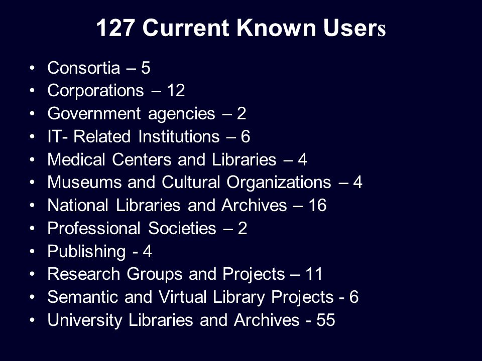 127 Current Known User s Consortia – 5 Corporations – 12 Government agencies – 2 IT- Related Institutions – 6 Medical Centers and Libraries – 4 Museums and Cultural Organizations – 4 National Libraries and Archives – 16 Professional Societies – 2 Publishing - 4 Research Groups and Projects – 11 Semantic and Virtual Library Projects - 6 University Libraries and Archives - 55