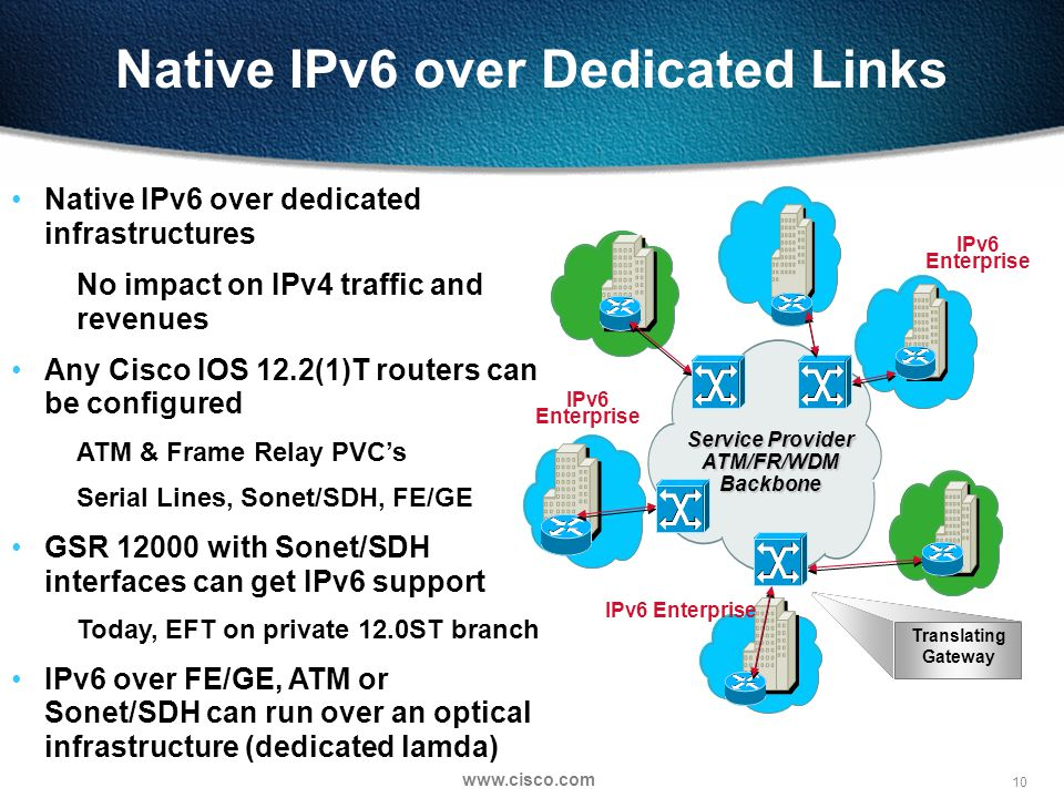 10   Native IPv6 over Dedicated Links IPv6 Enterprise Translating Gateway Native IPv6 over dedicated infrastructures No impact on IPv4 traffic and revenues Any Cisco IOS 12.2(1)T routers can be configured ATM & Frame Relay PVC's Serial Lines, Sonet/SDH, FE/GE GSR with Sonet/SDH interfaces can get IPv6 support Today, EFT on private 12.0ST branch IPv6 over FE/GE, ATM or Sonet/SDH can run over an optical infrastructure (dedicated lamda) Service Provider ATM/FR/WDM Backbone