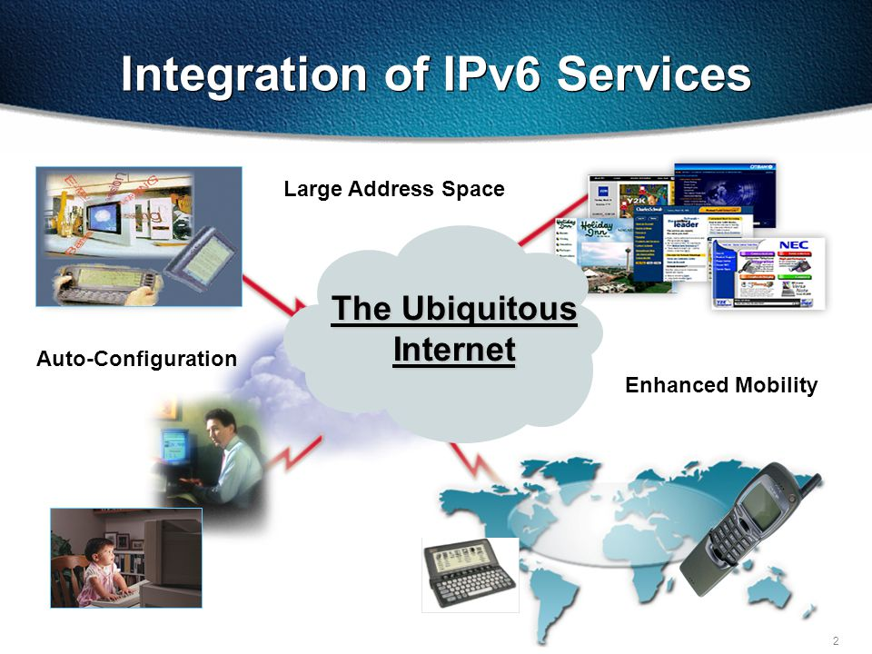 2   Integration of IPv6 Services The Ubiquitous Internet Large Address Space Auto-Configuration Enhanced Mobility