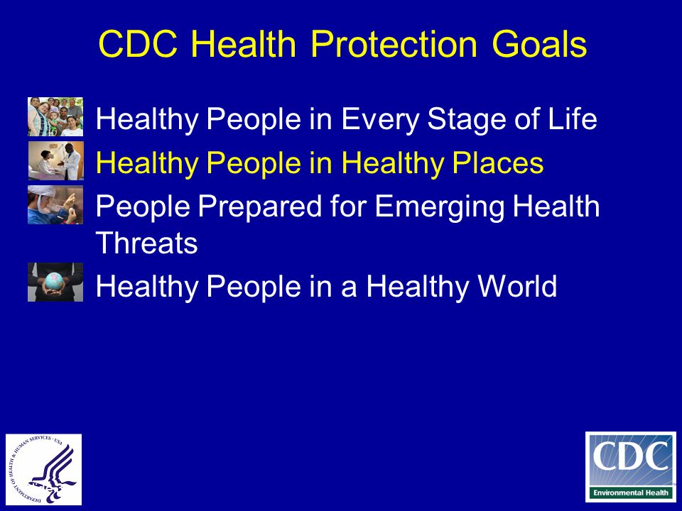 Slide 3 CDC Health Protection Goals ● Healthy People in Every Stage of Life ● Healthy People in Healthy Places ● People Prepared for Emerging Health Threats ● Healthy People in a Healthy World