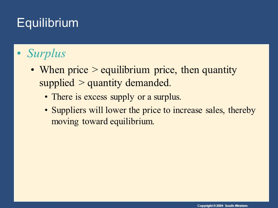 Copyright © 2004 South-Western Equilibrium Surplus When price > equilibrium price, then quantity supplied > quantity demanded.