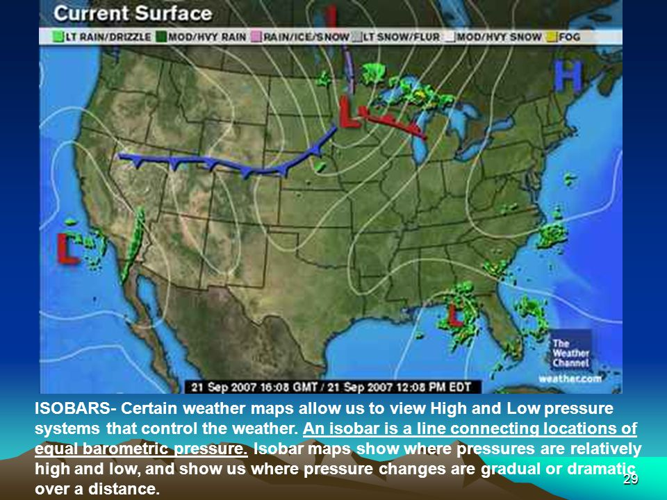 ISOBARS- Certain weather maps allow us to view High and Low pressure systems that control the weather.