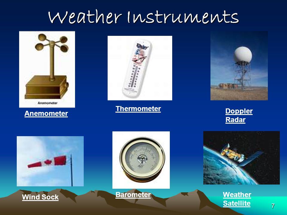 Weather Instruments Anemometer Wind Sock Thermometer Barometer Doppler Radar Weather Satellite 7