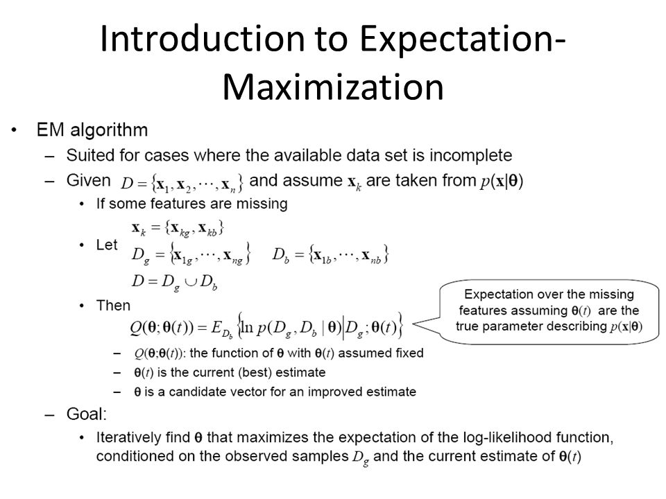 Introduction to Expectation- Maximization