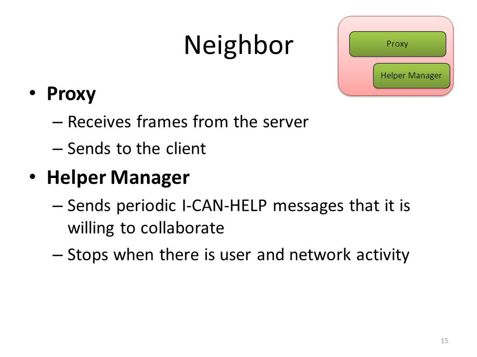 Neighbor Proxy – Receives frames from the server – Sends to the client Helper Manager – Sends periodic I-CAN-HELP messages that it is willing to collaborate – Stops when there is user and network activity 15 Helper Manager Proxy Helper Manager