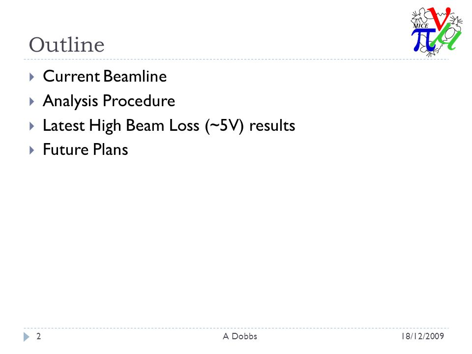 Outline  Current Beamline  Analysis Procedure  Latest High Beam Loss (~5V) results  Future Plans 18/12/20092A Dobbs