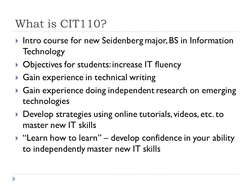 What is CIT110.