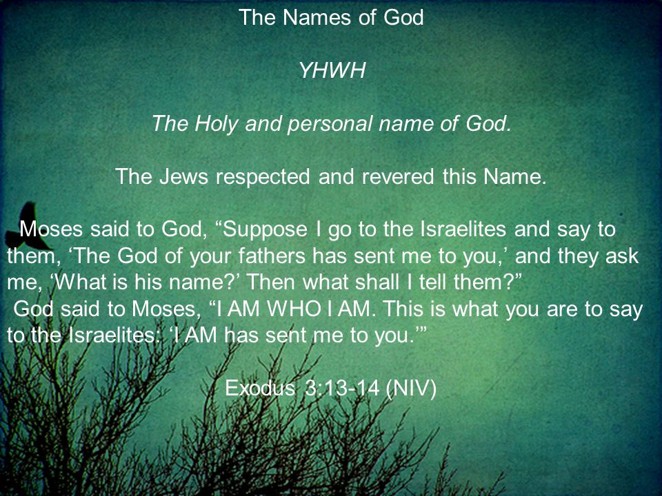 The Names of God YHWH The Holy and personal name of God.