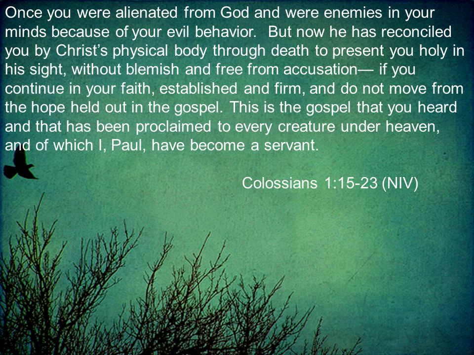 Once you were alienated from God and were enemies in your minds because of your evil behavior.