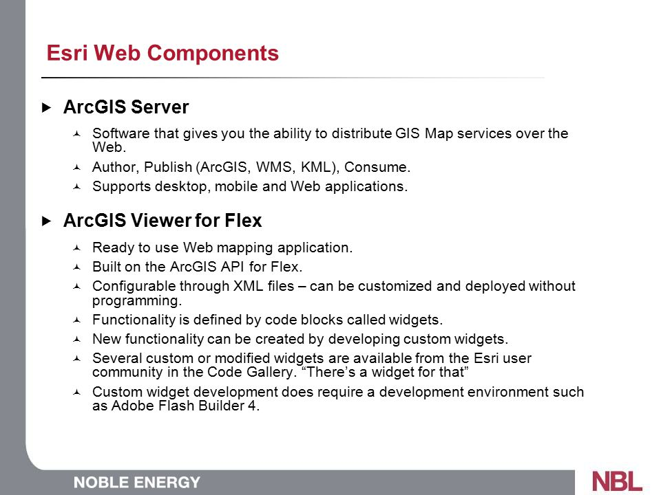 Esri Web Components  ArcGIS Server Software that gives you the ability to distribute GIS Map services over the Web.