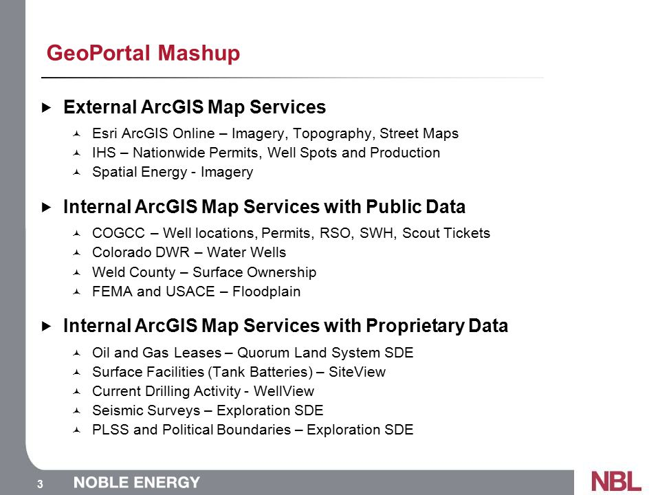 3 GeoPortal Mashup  External ArcGIS Map Services Esri ArcGIS Online – Imagery, Topography, Street Maps IHS – Nationwide Permits, Well Spots and Production Spatial Energy - Imagery  Internal ArcGIS Map Services with Public Data COGCC – Well locations, Permits, RSO, SWH, Scout Tickets Colorado DWR – Water Wells Weld County – Surface Ownership FEMA and USACE – Floodplain  Internal ArcGIS Map Services with Proprietary Data Oil and Gas Leases – Quorum Land System SDE Surface Facilities (Tank Batteries) – SiteView Current Drilling Activity - WellView Seismic Surveys – Exploration SDE PLSS and Political Boundaries – Exploration SDE
