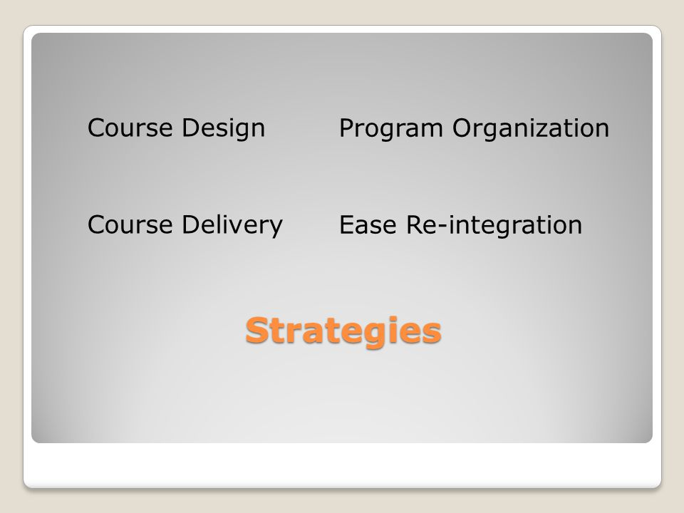Strategies Strategies Course Design Course Delivery Program Organization Ease Re-integration