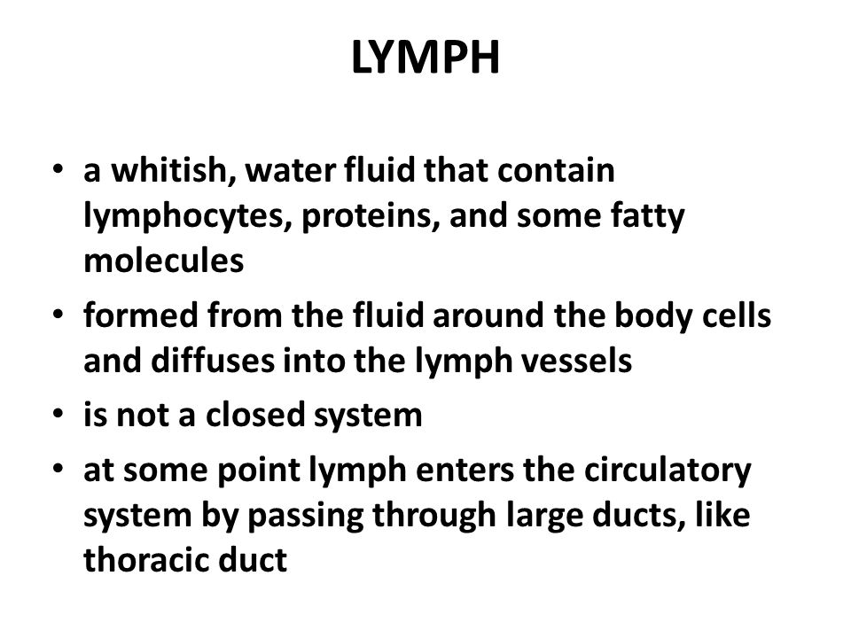 LYMPH a whitish, water fluid that contain lymphocytes, proteins, and some fatty molecules formed from the fluid around the body cells and diffuses into the lymph vessels is not a closed system at some point lymph enters the circulatory system by passing through large ducts, like thoracic duct