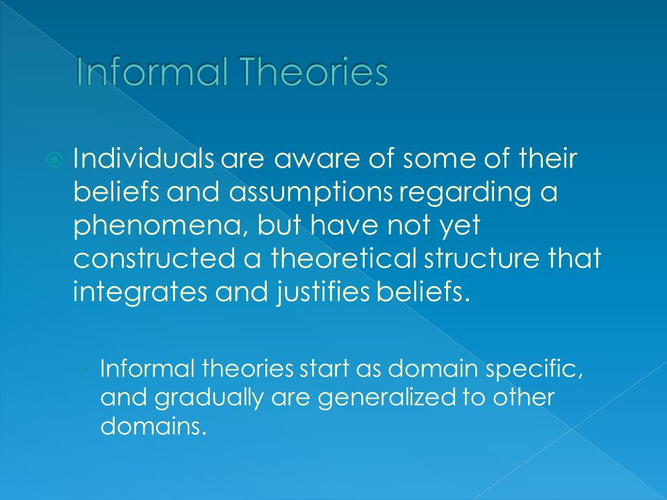  Individuals are aware of some of their beliefs and assumptions regarding a phenomena, but have not yet constructed a theoretical structure that integrates and justifies beliefs.