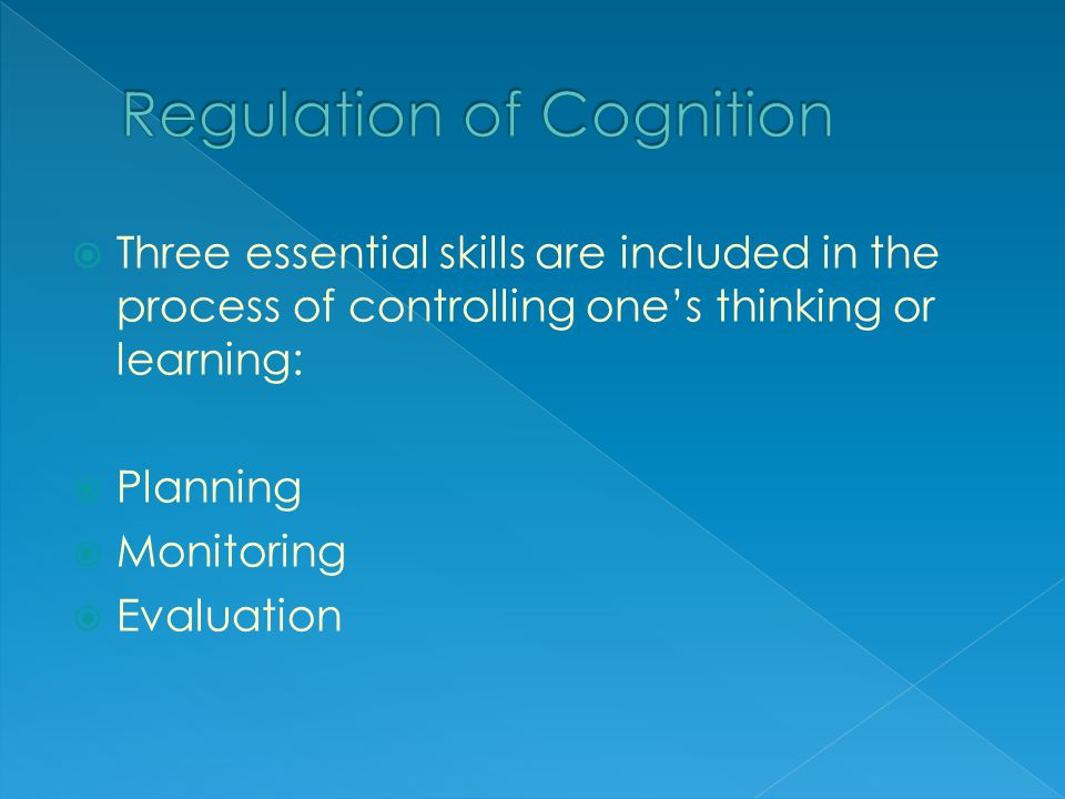  Three essential skills are included in the process of controlling one's thinking or learning:  Planning  Monitoring  Evaluation