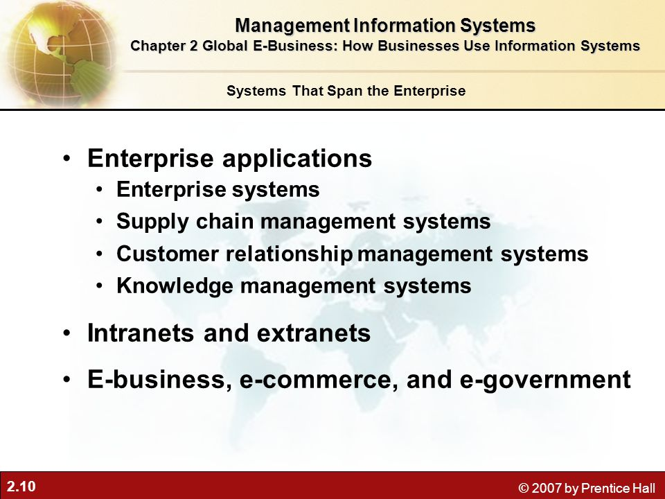 2.10 © 2007 by Prentice Hall Enterprise applications Enterprise systems Supply chain management systems Customer relationship management systems Knowledge management systems Intranets and extranets E-business, e-commerce, and e-government Systems That Span the Enterprise Management Information Systems Chapter 2 Global E-Business: How Businesses Use Information Systems