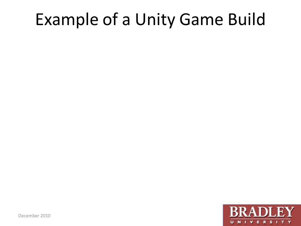 Example of a Unity Game Build December 2010