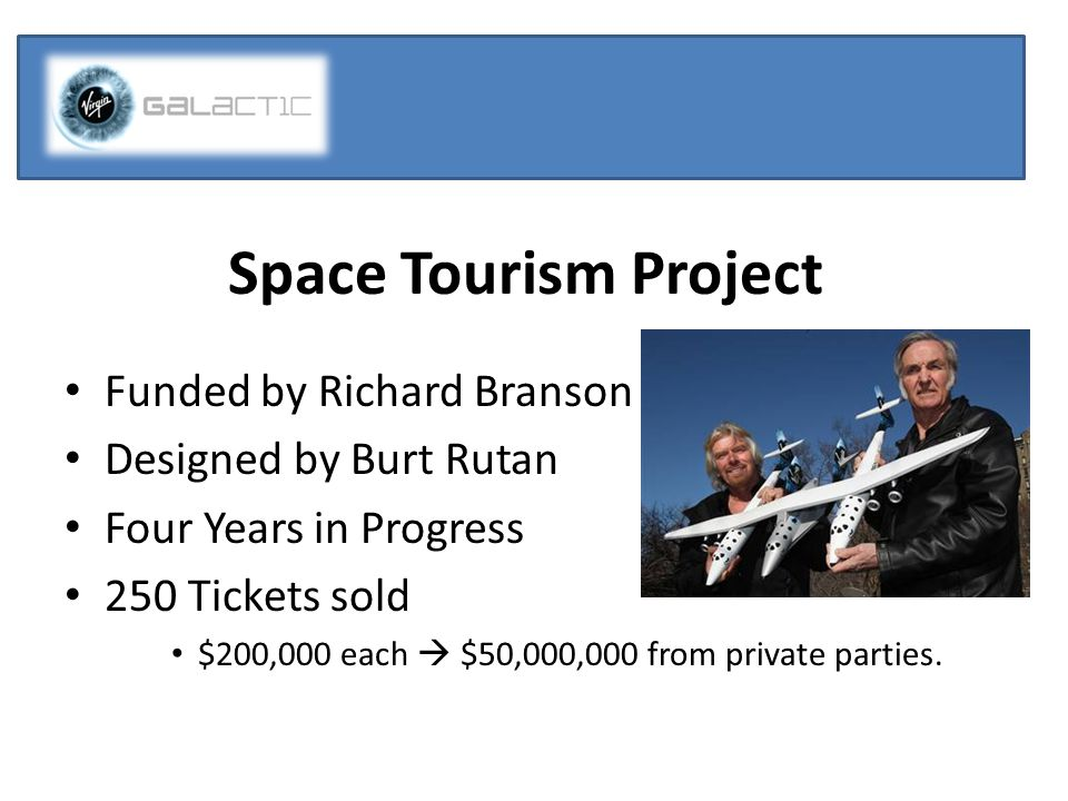 Space Tourism Project Funded by Richard Branson Designed by Burt Rutan Four Years in Progress 250 Tickets sold $200,000 each  $50,000,000 from private parties.