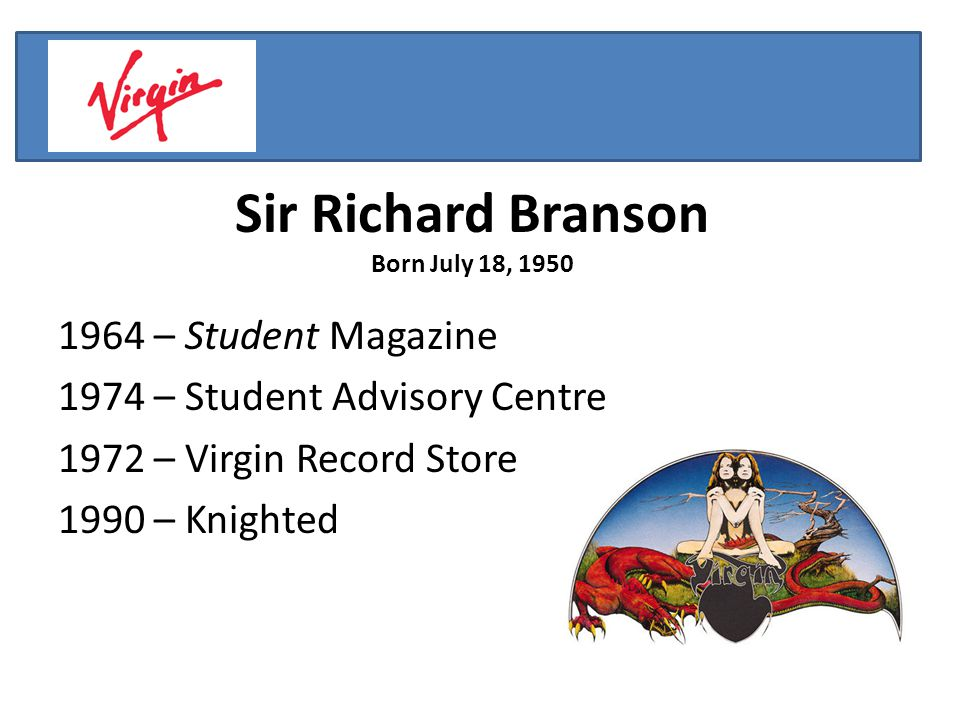 Sir Richard Branson Born July 18, – Student Magazine 1974 – Student Advisory Centre 1972 – Virgin Record Store 1990 – Knighted