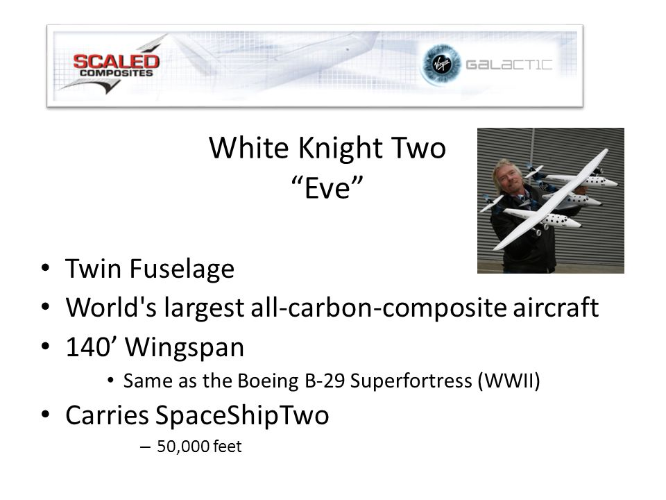 White Knight Two Eve Twin Fuselage World s largest all-carbon-composite aircraft 140' Wingspan Same as the Boeing B-29 Superfortress (WWII) Carries SpaceShipTwo – 50,000 feet