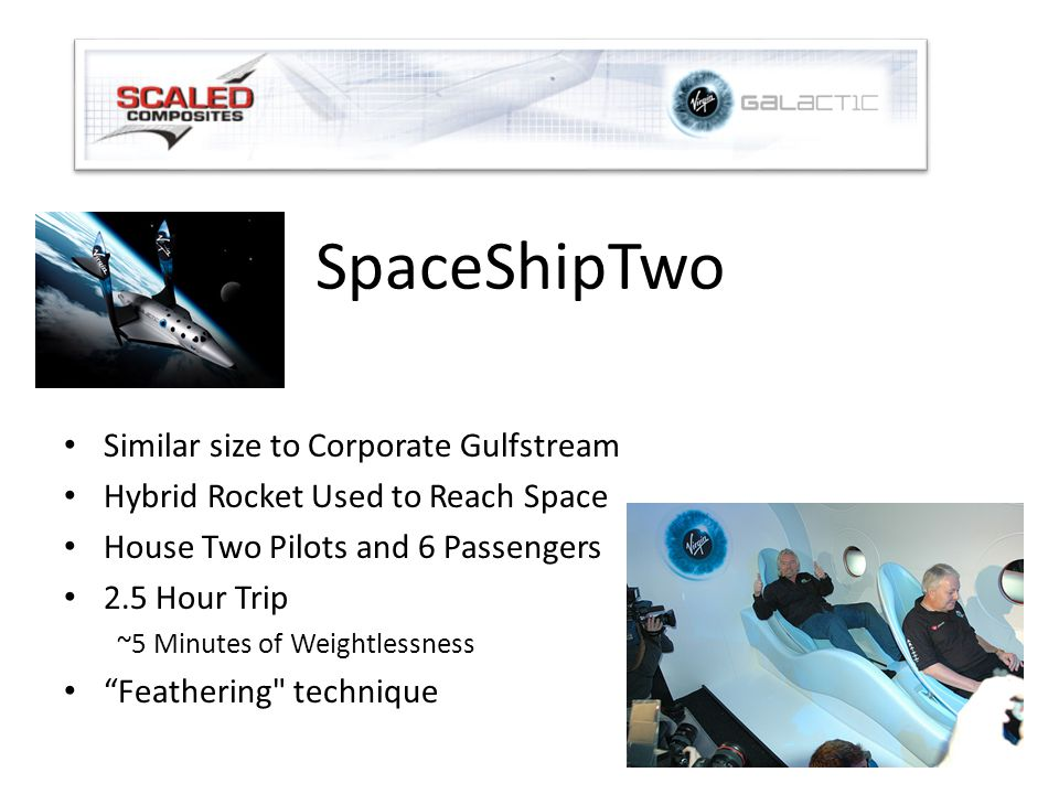 SpaceShipTwo Similar size to Corporate Gulfstream Hybrid Rocket Used to Reach Space House Two Pilots and 6 Passengers 2.5 Hour Trip ~5 Minutes of Weightlessness Feathering technique