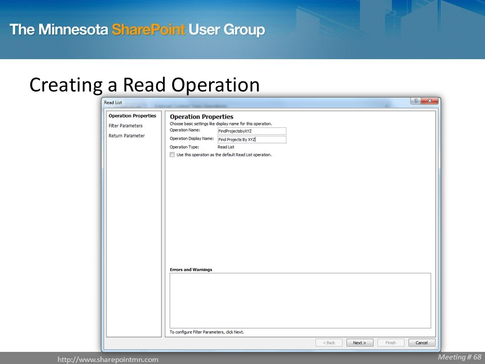 Meeting # 68 Creating a Read Operation