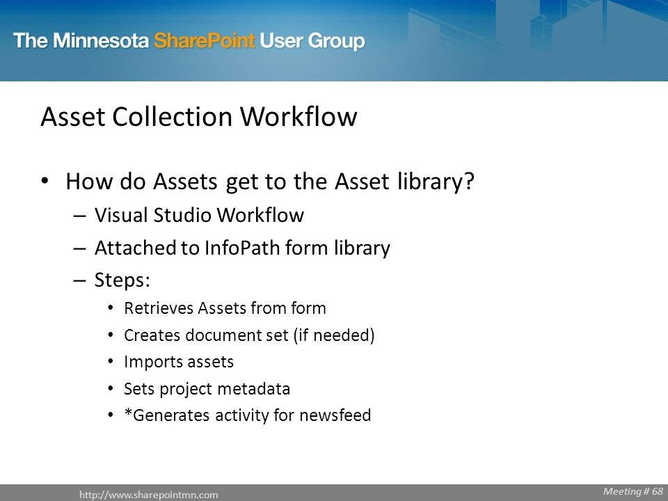 Meeting # 68 Asset Collection Workflow How do Assets get to the Asset library.