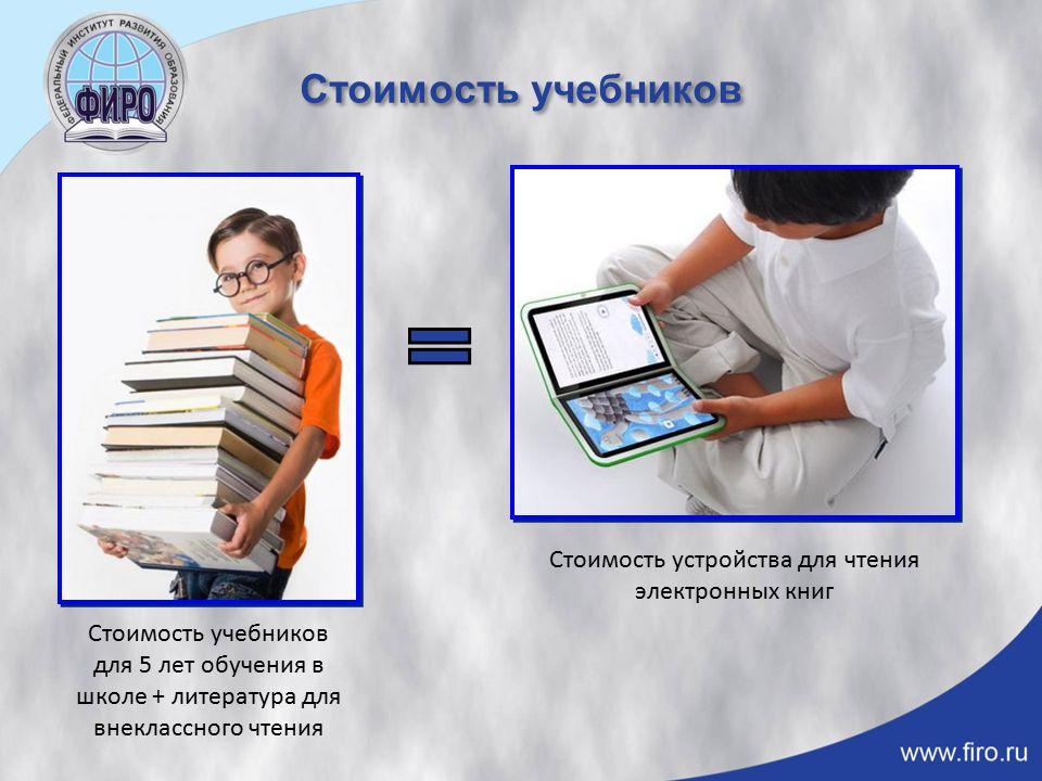 Стоимость учебников Стоимость учебников для 5 лет обучения в школе + литература для внеклассного чтения Стоимость устройства для чтения электронных книг