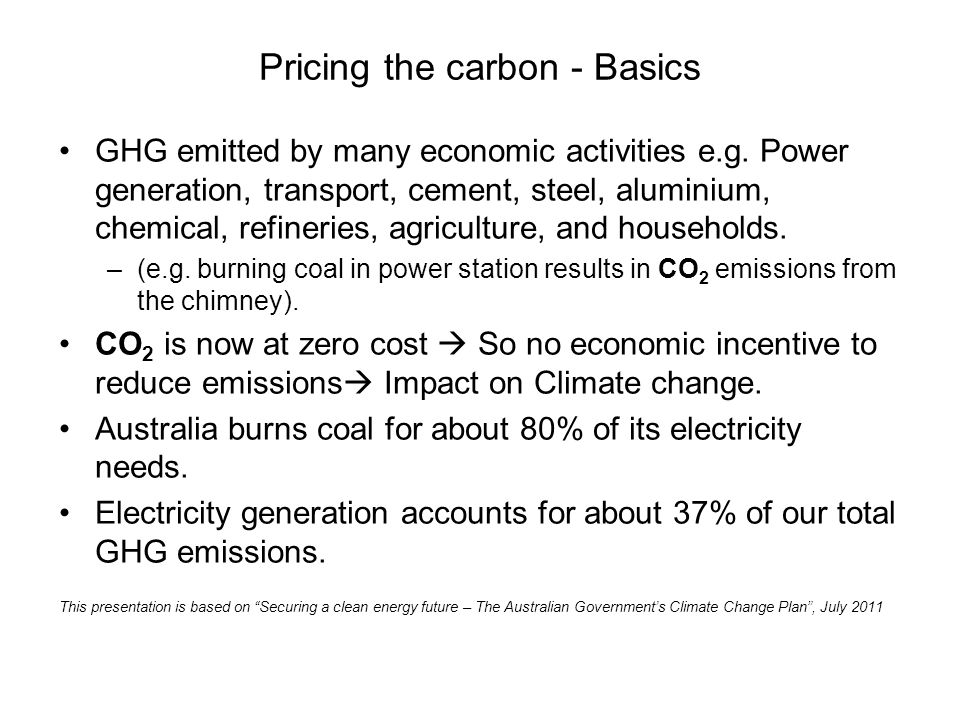 Pricing the carbon - Basics GHG emitted by many economic activities e.g.