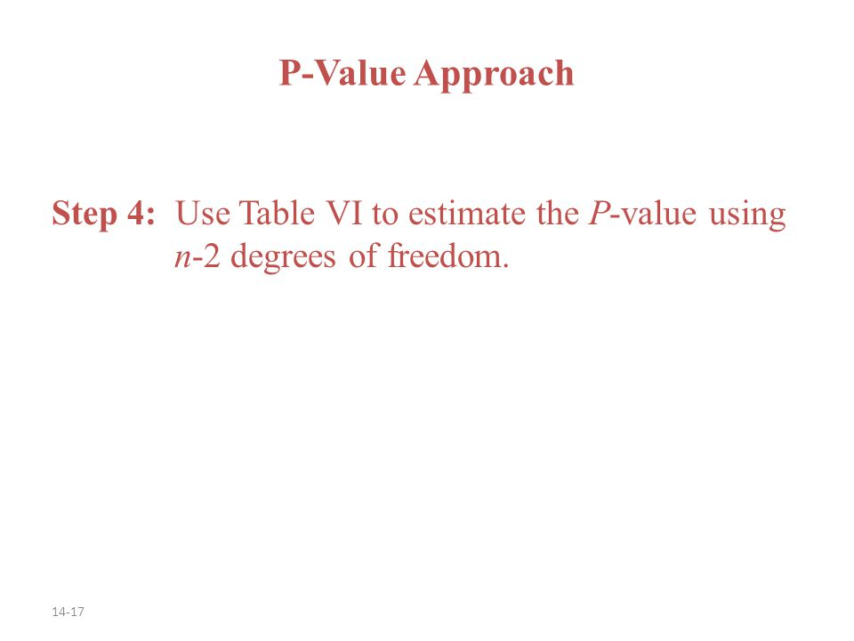14-17 Step 4: Use Table VI to estimate the P-value using n-2 degrees of freedom. P-Value Approach
