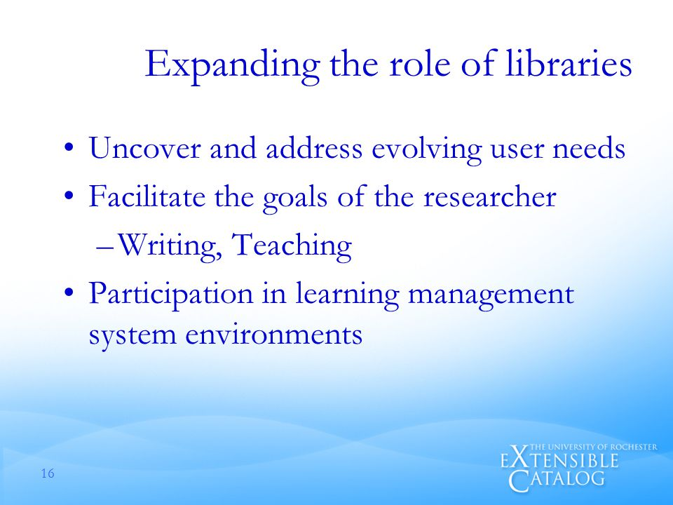 Expanding the role of libraries Uncover and address evolving user needs Facilitate the goals of the researcher –Writing, Teaching Participation in learning management system environments 16