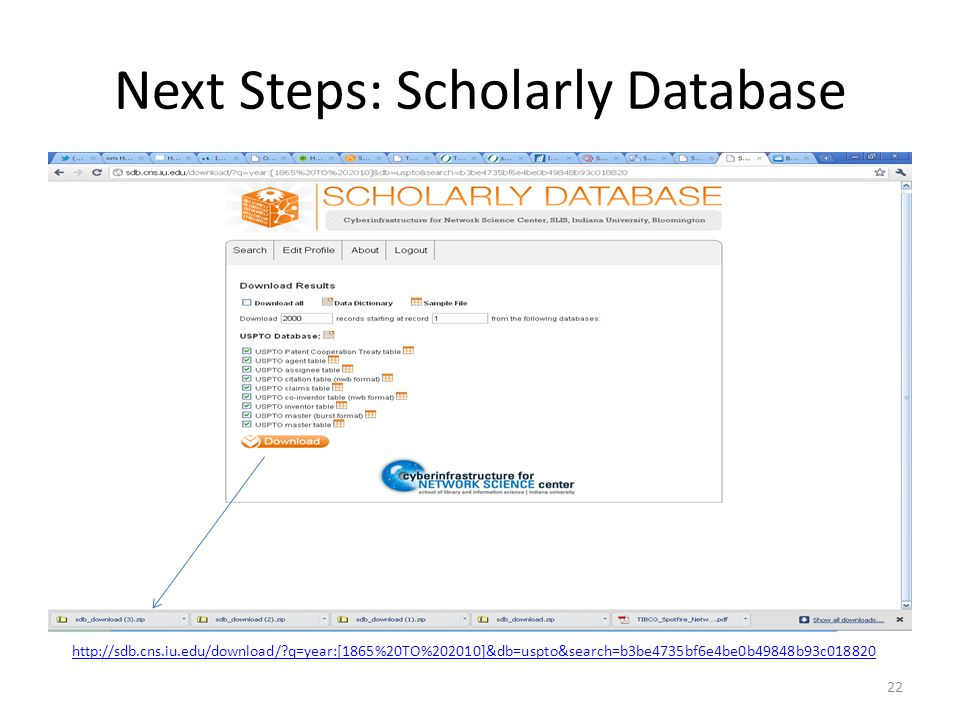 Next Steps: Scholarly Database 22   q=year:[1865%20TO%202010]&db=uspto&search=b3be4735bf6e4be0b49848b93c018820