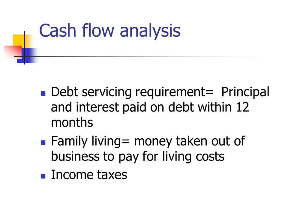 Cash flow analysis Debt servicing requirement= Principal and interest paid on debt within 12 months Family living= money taken out of business to pay for living costs Income taxes