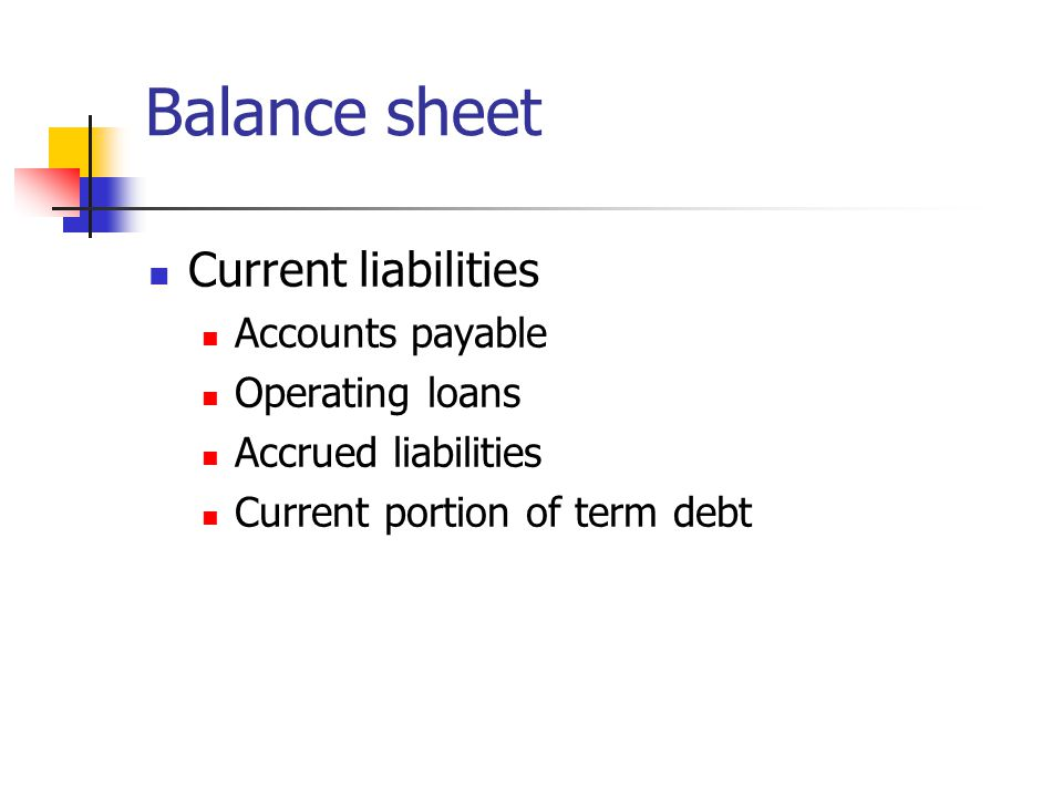 Balance sheet Current liabilities Accounts payable Operating loans Accrued liabilities Current portion of term debt