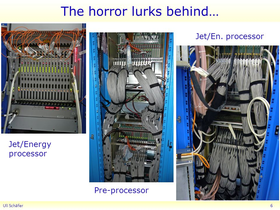 The horror lurks behind… Uli Schäfer 6 Jet/Energy processor Pre-processor Jet/En. processor