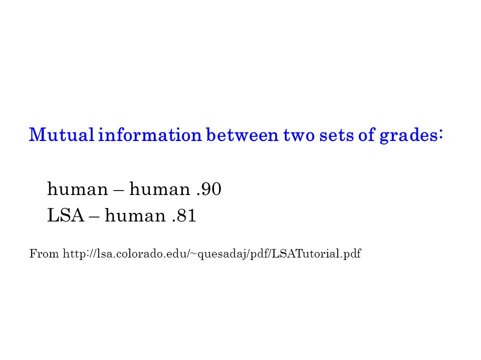 Mutual information between two sets of grades: human – human.90 LSA – human.81 From